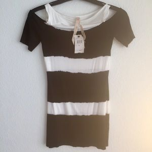 Sax - hand dyed t-shirt - cut out shoulders NWT